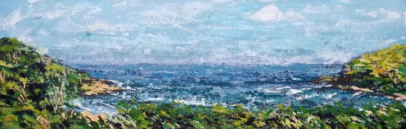 "I painted this scene of the bay at Hluleka Nature Reserve in November 2017. I had rented a log cabin overlooking the bay. At that time I was the only person staying at the Reserve. I was surprised by its tranquility. On this particular morning I was painting from my balcony when I saw a whale breach in the bay. It playfully slapped its tail on the water a few times and then disappeared. I stood open mouthed, asking, ""Did you see that?"" to no one. I couldn't believe my luck. Sometimes life is actually too good to be true. I painted this view of the bay in acrylic with knives and gifted to my friend Adam. We grew up in the Eastern Cape and we both have fond memories of the coastline there."