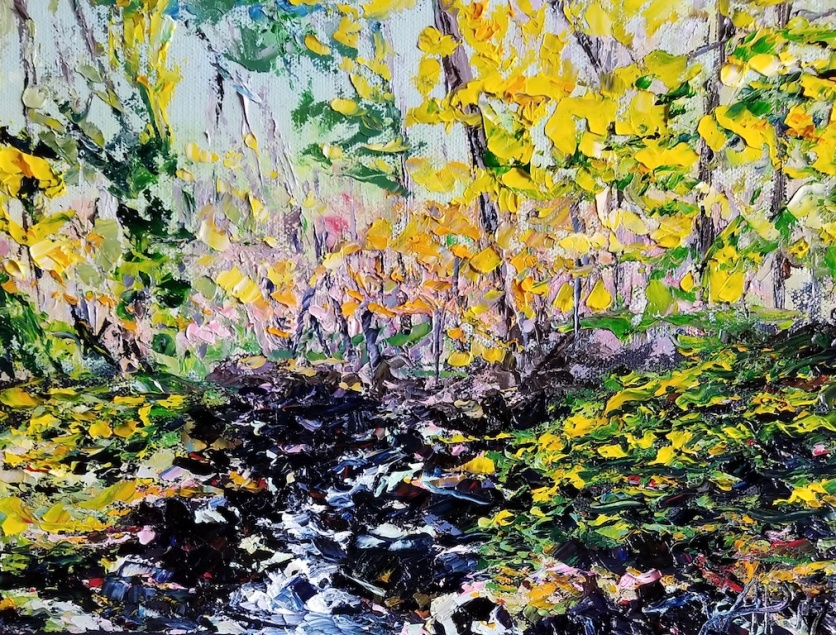 I painted this in autumn 2017, whilst walking my dog, Odysseus, in Hydes - just north of Baltimore. Maryland, in general, is beautiful. Every season is distinct. This is especially visible in the woodland. Off Hartley Mill Lane, there is a stream which runs over rocks and under a bridge. Standing on that bridge I observed how the near bright yellow leaves gave way to pastel colours further in. It reminded me that the colours in Maryland are often very rich. It's a nice contrast to the subtle tones of places like Namibia.