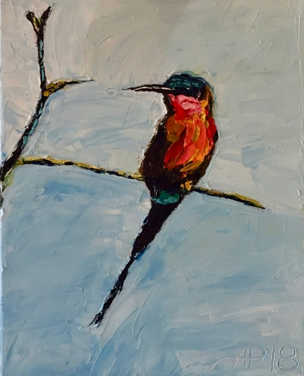 I love bee eaters. They have beautiful colours. On a game drive through Hwange in February 2017, this carmine bee eater followed the game vehicle, picking up insects which were disturbed along the road. Every time we would stop, it would land nearby. Then when we would continue, it would follow us again. This painting was gifted to Jan and Lawrence Mallen, a generous couple. They have helped me during numerous transitions in my life.
